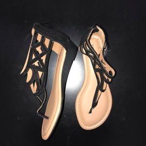 Torrid with Black Geometric Stone Sandals. NWT